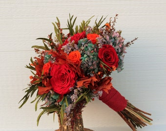 Burgundy, Blue, and Orange Wedding Bouquet, Preserved Rose & Hydrangea Bridal Bouquet, Dried Flower Bouquet, Autumn Hydrangea Brides Bouquet