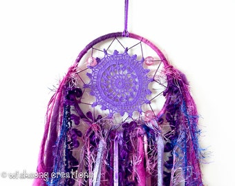 Dreamcatcher wall hanging, small purple doily dreamcatcher, yarn and ribbon tassels, hoop art, hoop wall decor