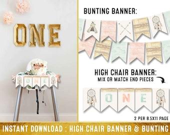 I am one banner - Dream catcher highchair banner - wild one first birthday highchair banner - highchair birthday banner - bunting