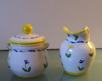 Made in Italy  Ceramic Sugar Bowl & Creamer