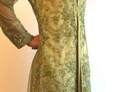 Maria B formal jacket dress, olive green net, women clothing, pakistani/indian/bengali clothes,