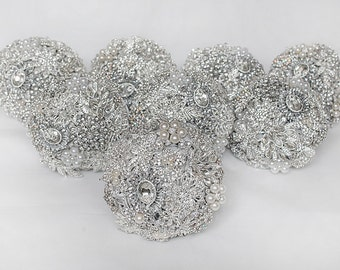 Brooch bouquet, Silver Wedding Bouquet, Bridal Bouquet, Bridesmaid bouquet, Crystal Bouquet, Silver Bouquet, Bridesmaids Items, Chic Bouquet