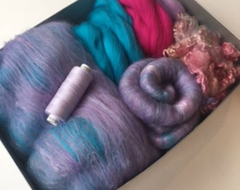 Spinning Kit or Felting Kit Spinning Fibre Lavender and Turquoise