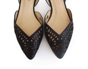 Black womens shoes, Flat shoes for women, Leather shoes, Spring shoes, Women's shoes, Laser cut shoes, Lace shape shoes, Summer shoes