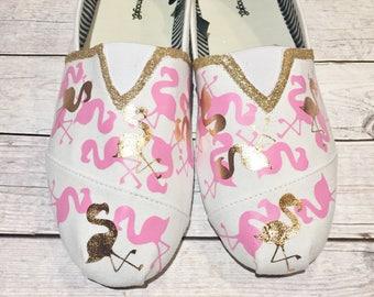 custom toms- custom canvas shoes- flamingo shoes- pink and gold shoes- flamingo canvas shoes- canvas beach shoes- summer shoes- unique toms