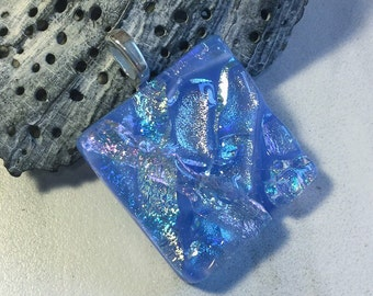 Blue Dichroic Glass Pendant, Fused Glass Jewelry, Textured Glass, Cabochon, Pale Blue Dichroic, Square Necklace, Chain Included, P1031-3