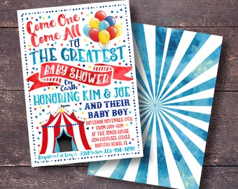 Carnival Baby Shower Invitation, Circus Baby Shower Invitation, Carnival Baby  Shower, Circus Baby