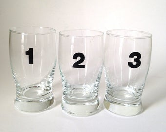 Set of Three Vintage Numbered Juice Glasses 1 2 3 Tyopography Numbers 4 Ounce Capacity