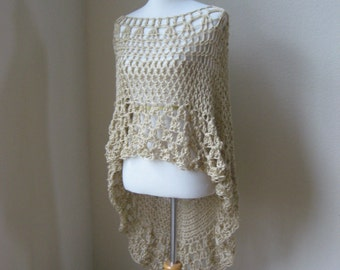 BEIGE CROCHET PONCHO Romantic Bohemian Fashion Knit Poncho Capelet Chic Light Beige Cape Cream Sweater