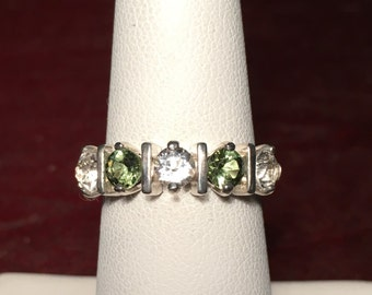 Chinese Green Diopside and White Topaz Band Style Ring Sterling Silver Multi-Stone Ring Shanseres Topaz 5 Stone Ring