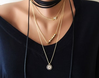 Multi Strand Necklace, Multi Chain Necklace,Gift for Her,Multistrand Necklace Gold Kewelry,Gold Necklace,Layering Jewelry,Leather Choker