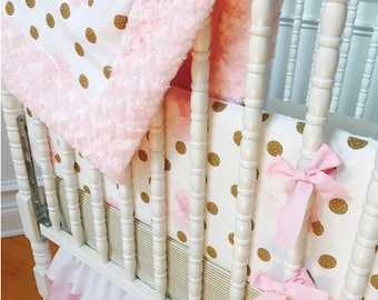 Pink Floral and gold Girl Crib Bedding,Abigail Set, Shower Gift.Ready to ship in 1-2 Business days!