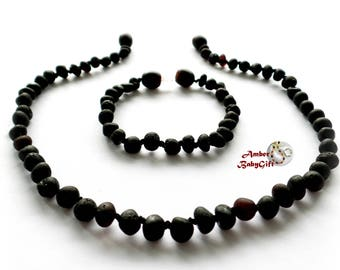Set of Black Cherry Amber Teething Necklace and Bracelet / Anklet - Unpolished Amber Beads - Screw clasp - Choose Your Length, R-17