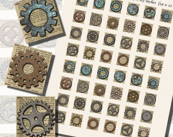 Gears, Gears, Gears--Gear Printables, SCRABBLE TILE SIZE (.75 x .83 Inches or 19 x 21 mm), 48 Images Total