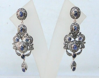 Victorian Diamond Blue Sapphire 14 K Gold Silver Dangle Earring Pair