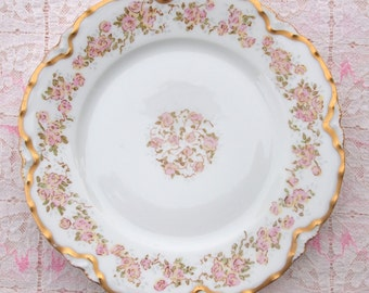 Haviland Plate | Limoges Plate | Antique Plate | Salad or Dessert Plate | Pink Roses Plate with Gold Trim - 7 1/2 Inch Plate