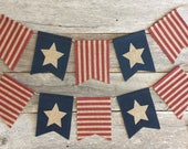 Stars and Stripes Burlap Banner, Burlap bunting, Stars and Stripes Banner, Patriotic Banner, 4th of July Banner, Memorial Day Banner