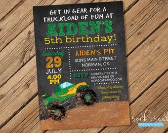 Monster Truck Invitation, Monster Truck Birthday, Monster Jam Invitation, Monster Trucks,  Printable Birthday Party Invitation