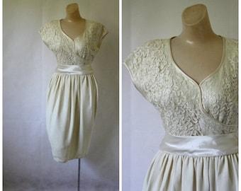 Sale Vintage Cocktail Dress / Ivory Lace Dress / 1980's Fancy Dress / Vintage Lace Dress / Formal Ivory Dress / Vtg 80s Wedding Dress S/M