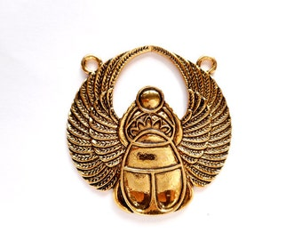 1 Antique Gold Egyptian Scarab Connector - 2-IN-7