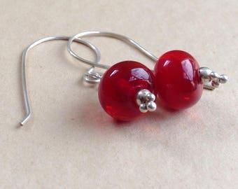 Red lampwork Earrings, Red Earrings, lampwork Earrings, Dangle Earrings, Drop Earrings,