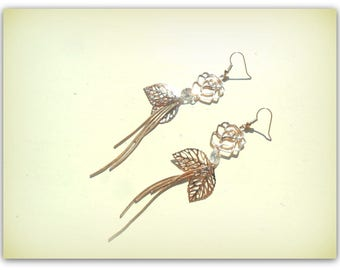 Long Rose Gold Tone Crystal Earrings Leaf Charm Earrings Long Dangle Earrings Tassel Earrings UK Shop Summer Accessories