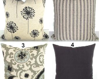 BLACK PILLOW Black Pillows Tan Pillow Covers Black Ticking Stripe Pillows 22 24x24 Euro Shams Ikat Tan Throw pillows Khaki .All Sizes.