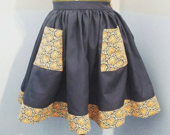 "Very full gathered skirt from up cycled vintage fabric 30""waist UK size 12 mustard and blue."