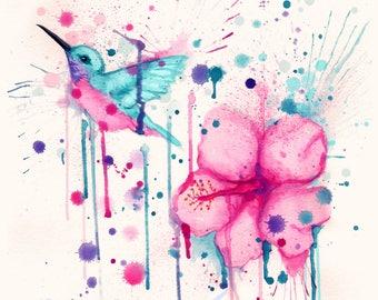 Hibiscus Hummingbird Fine Art Print