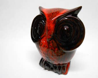 Evangeline Owl Piggy Bank Figurine Reddish Orange Drip Glaze Canadian Art Pottery Vintage