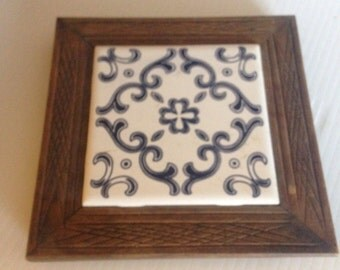 Ceramic Tile Trivet Wall Hanging Country Kitchen decor Wood Trivet