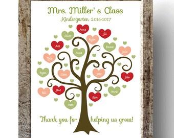 Printable DIGITAL FILE TEACHER Tree, Printable, Personalized Class Names, Teacher Appreciation, Class Gift, End year. Teacher gift