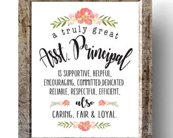 Assistant Principal Gift, Principal Chalkboard Printable, A truly great assistant Principal is hard to find and impossible to forget