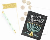 Boxed Set Of 8 Hanukkah Cards - Chalkboard Hanukka Card - Menorah Illustration - Holiday Cards - Chalk Lettering