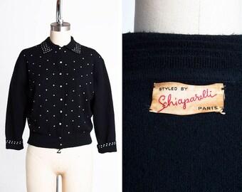 KNOCKOUT Early 1950s  ELSA SCHIAPARELLI Couture Rhinestone Studded Wool Cardigan // Sweater // Bombshell // Designer // Glamorous