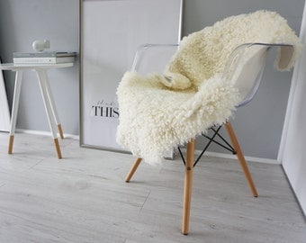 Genuine Rare Scandinavian Sheepskin Rug - Curly Wool - Natural Creamy White | Silver | Ivory Mix - SS 55