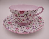 Vintage Shelley English Bone China Pink Briar Rose Teacup and Saucer - Elegant English Tea Cup