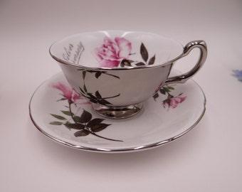 Vintage Royal Grafton English Bone China Teacup Pink Rose 25th Silver Anniversary English Teacup and Saucer English Tea cup