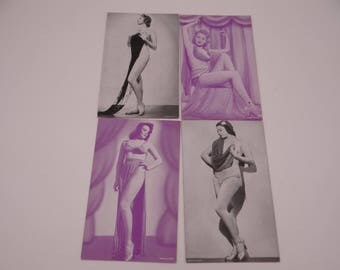 1940s Vintage Set of 4 Risque Pin Up Girl Postcards