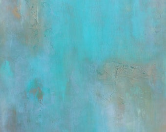 SALE Turquoise Blue Bronze Metallic Textured Wall Art Sculptural Painting Modern Abstract Contemporary Original Free USA Ship