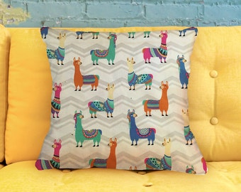 "Colorful Llamas - Pillow Cover 18"""