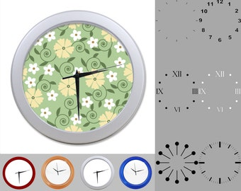 Spring Floral Wall Clock, Mixed Flower Design, Pastel Flowers, Customizable Clock, Round Wall Clock, Your Choice Clock Face or Clock Dial
