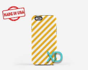 Yellow Candy Cane iPhone Case, Yellow iPhone Case, Candy Cane iPhone 8 Case, iPhone 6s Case, iPhone 7 Case, Phone Case, Safe Case, SE Case