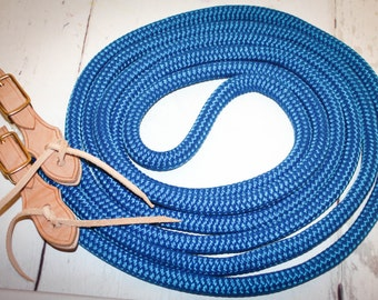 """Yacht rope reins 5/8"""", clinician grade rope reins with buckle slobber straps, pacifice blue reins"""