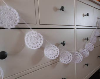 Crochet Garland Flower Wedding Garland Nursery Garland Home Decoration White