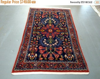 SPRING SALE Persian Rug - 1990s Hand-Knotted Mahal Sarouk Rug (1508)