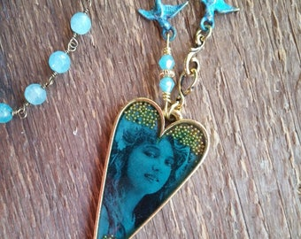 Vintage Gypsy Heart Necklace, Blue Beaded Necklace, Heart Necklace, Bohemian Jewelry