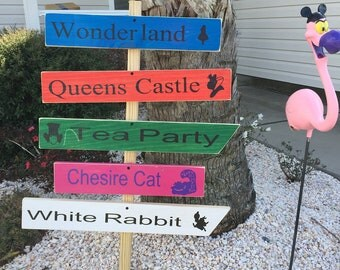 Alice in Wonderland Wood Outside Garden Sign