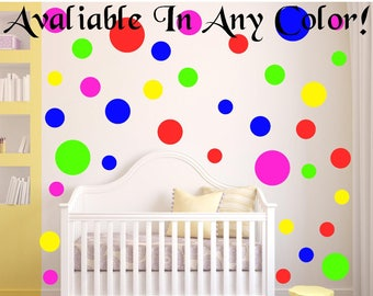 LARGE Polka Dot Wall Decals For Kids Rooms, Nursery Decor, Bedrooms, 6 Different Sizes! 40 Colors!, peel and stick dots
