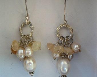 Earrings - Sterling Silver - gemstones cluster - pearls